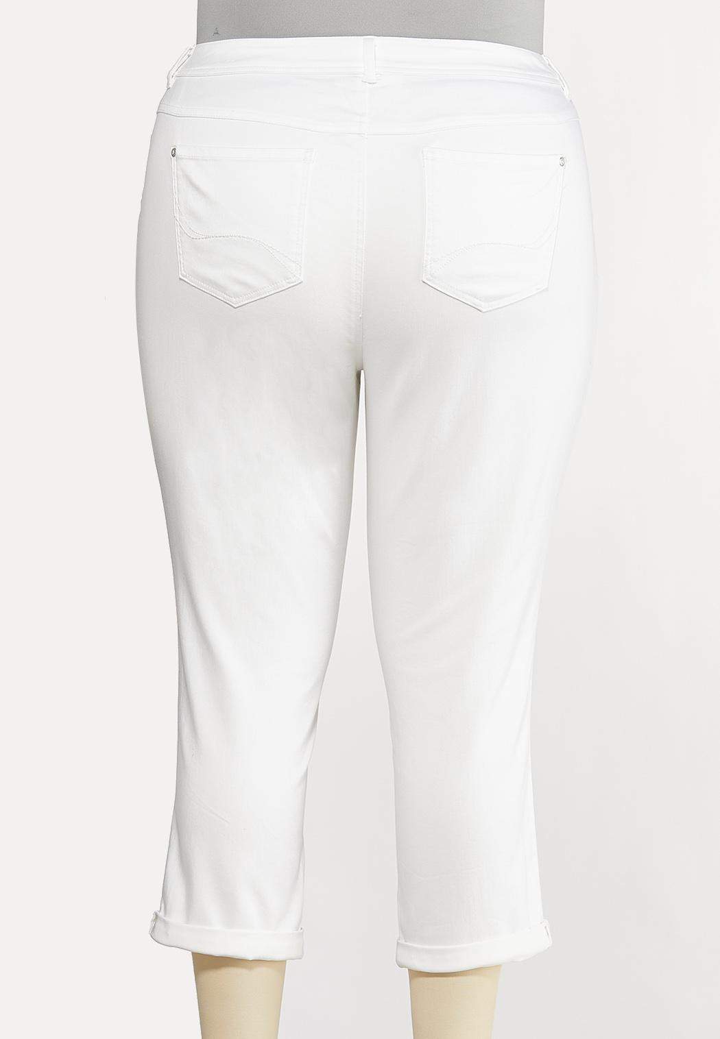Plus Size White Skinny Ankle Jeans (Item #44133247)