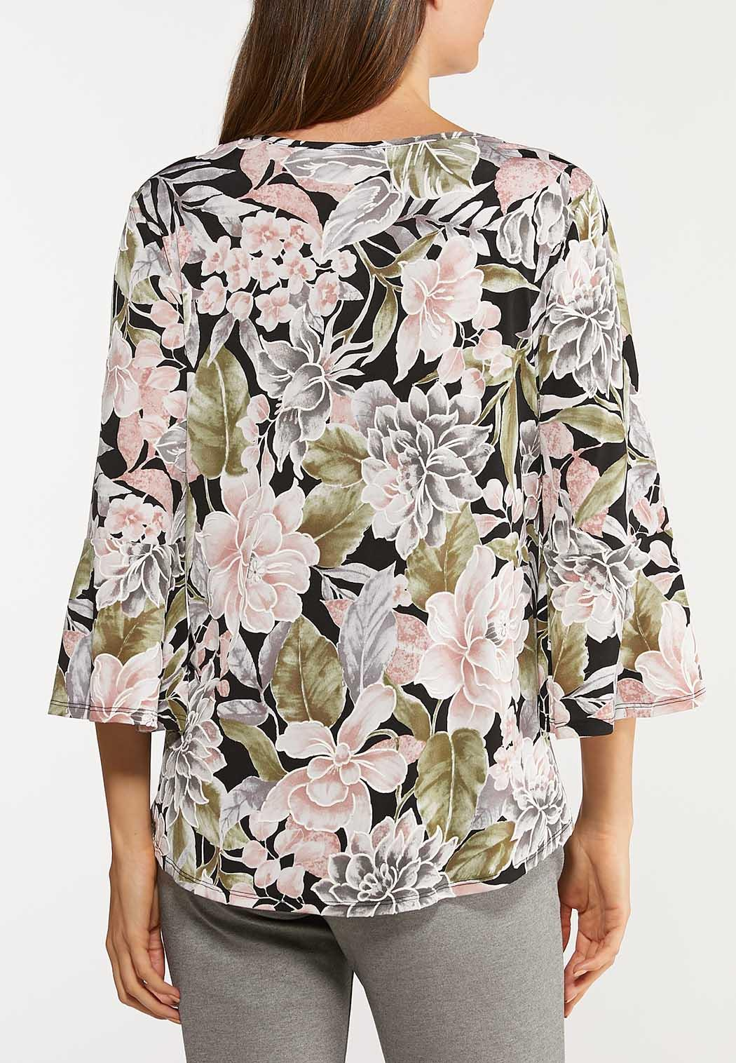 Plus Size Floral Bell Square Neck Top (Item #44134002)