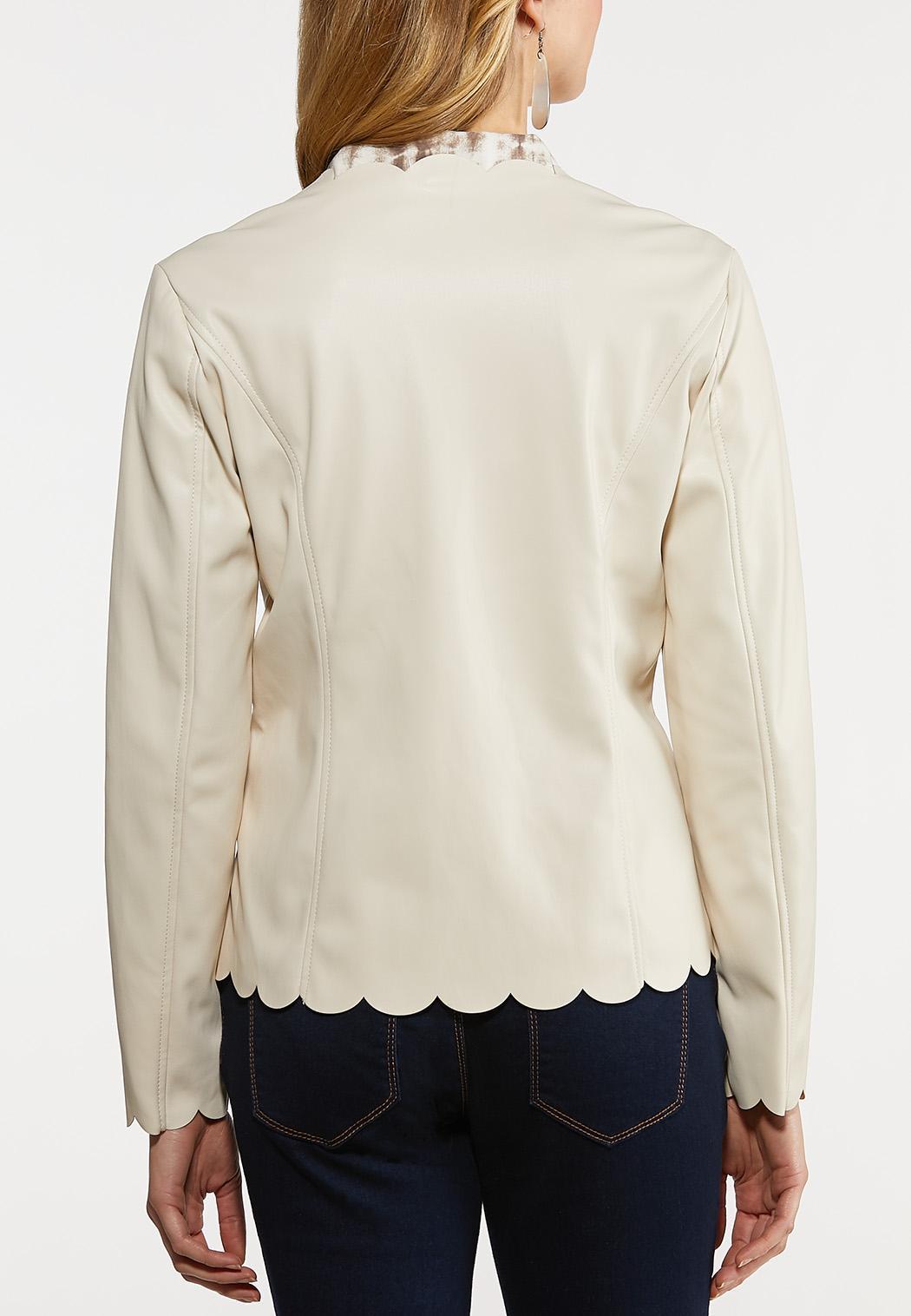 Plus Size Scalloped Faux Leather Jacket (Item #44134030)