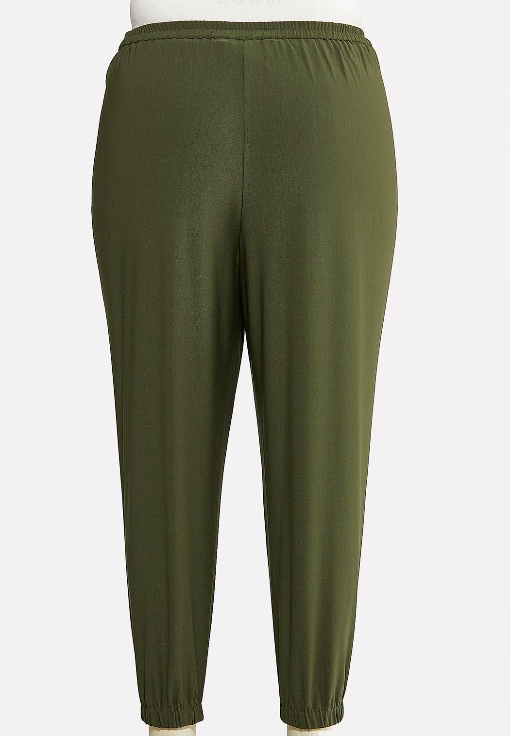 Plus Size Olive Dressy Joggers (Item #44135251)