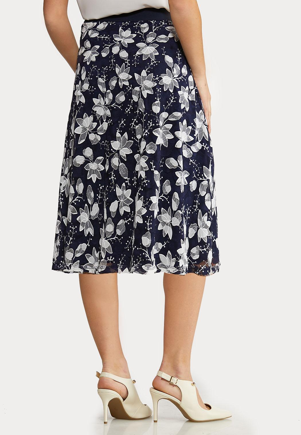 Plus Size Navy Floral Mesh Skirt (Item #44135382)