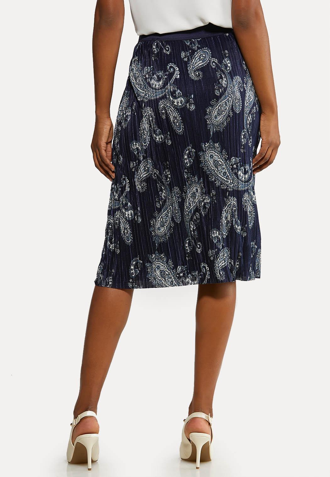 Plus Size Pleated Paisley Skirt (Item #44135400)