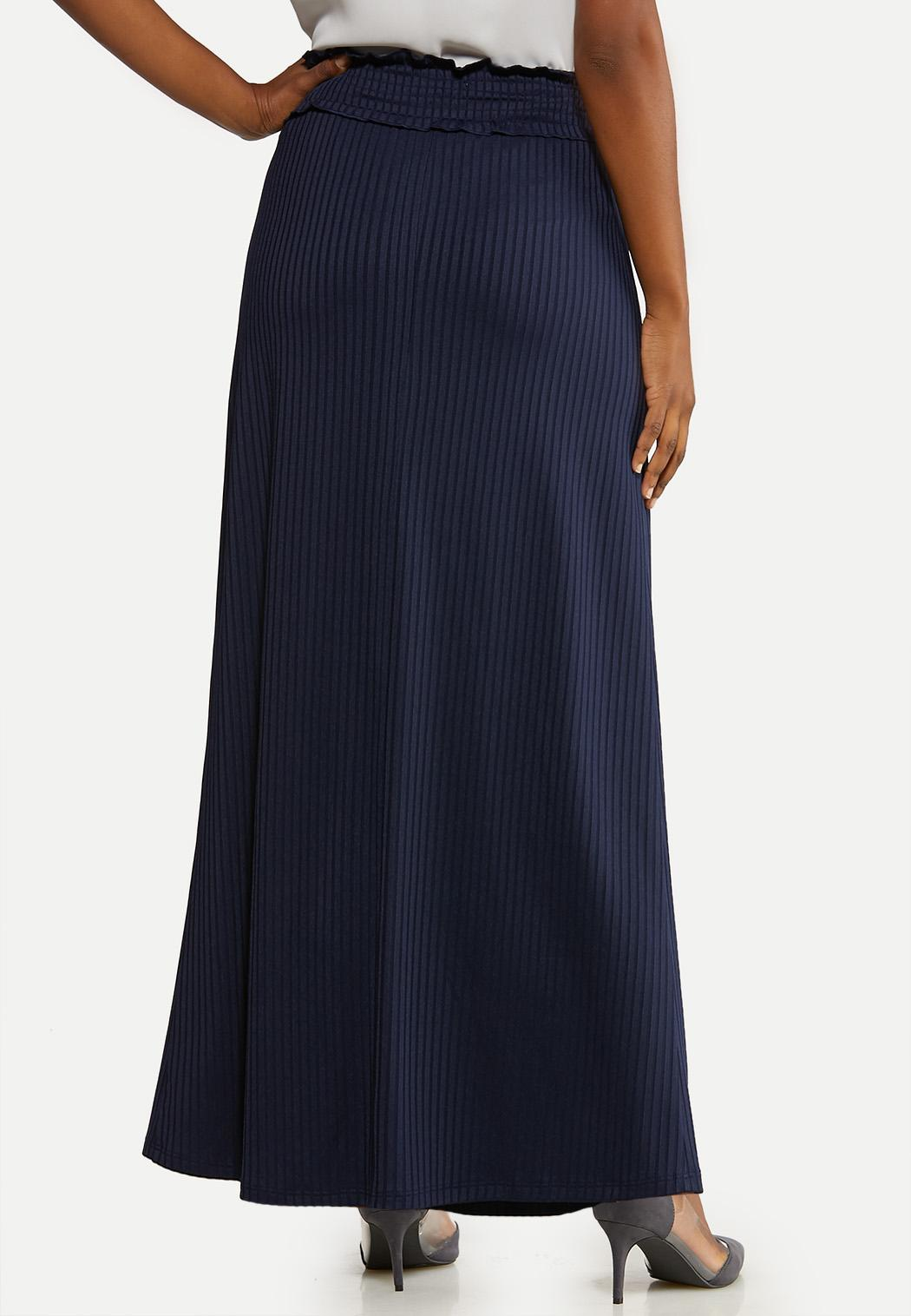 Plus Size Ribbed Maxi Skirt (Item #44135419)