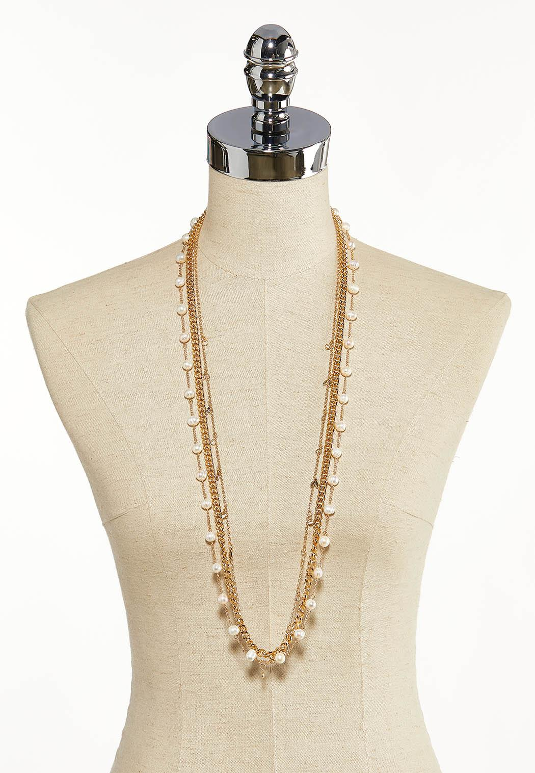 Layered Pearls And Links Necklace (Item #44136830)