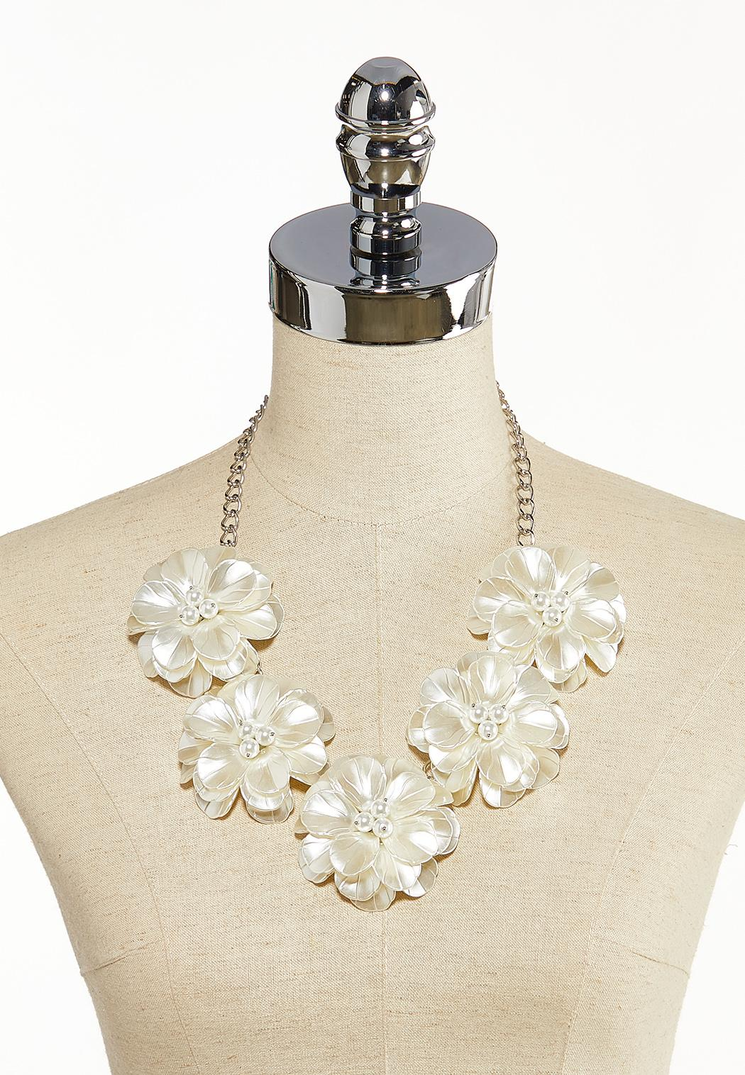 Ivory Petals And Pearls Necklace (Item #44136908)