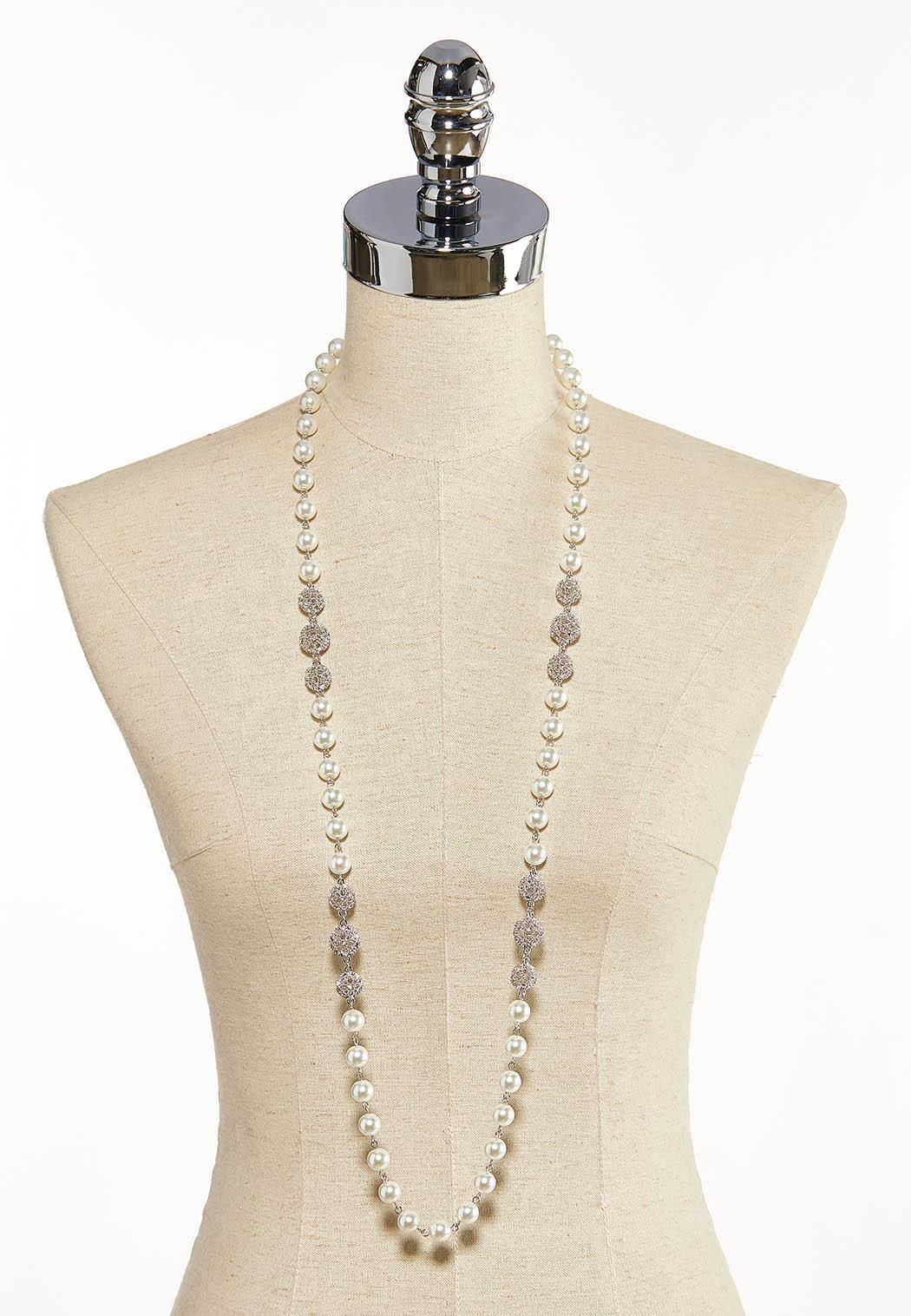Rhinestone Pearl Ball Necklace (Item #44137134)