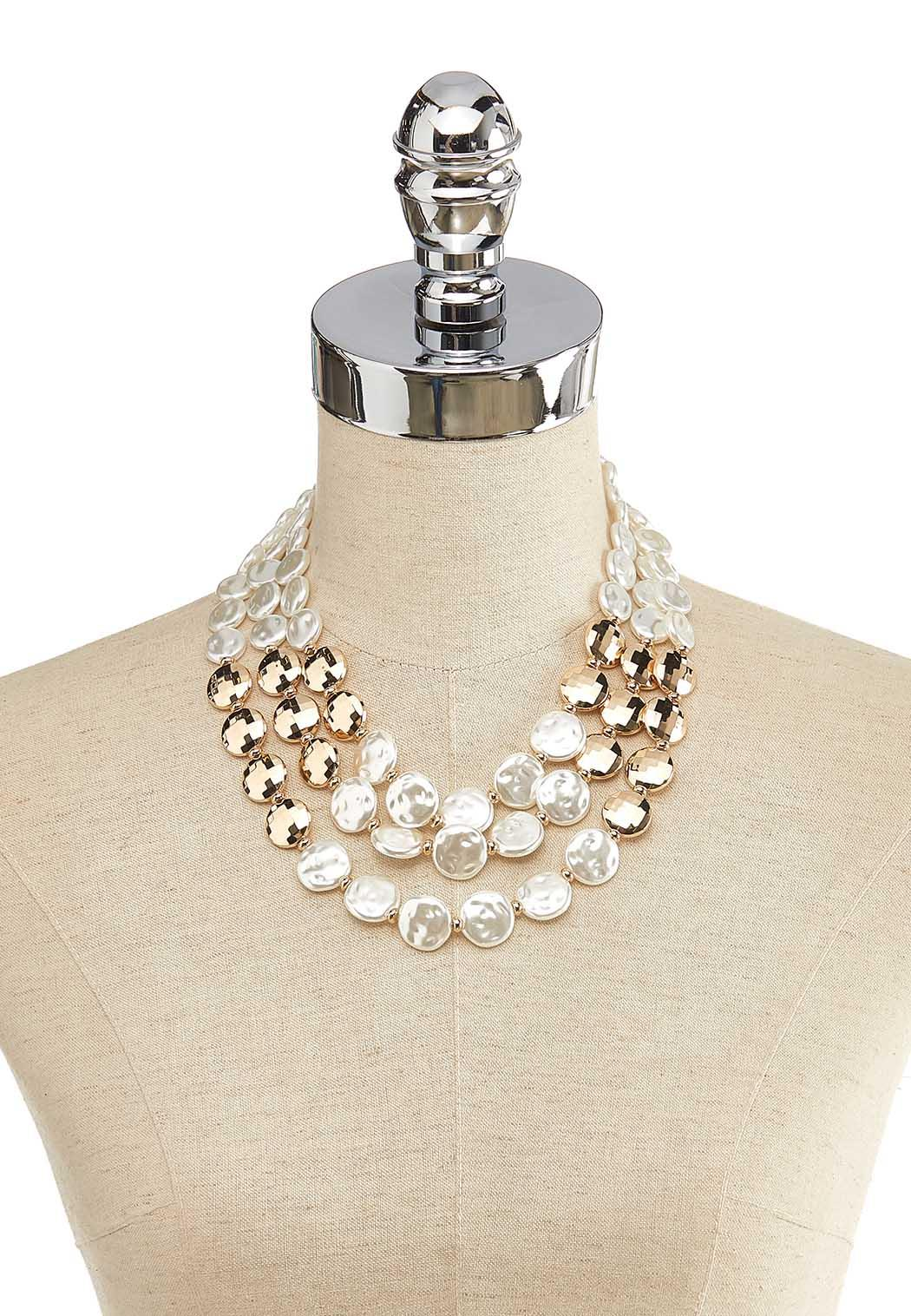 Layered Pearl Disc Necklace (Item #44137158)