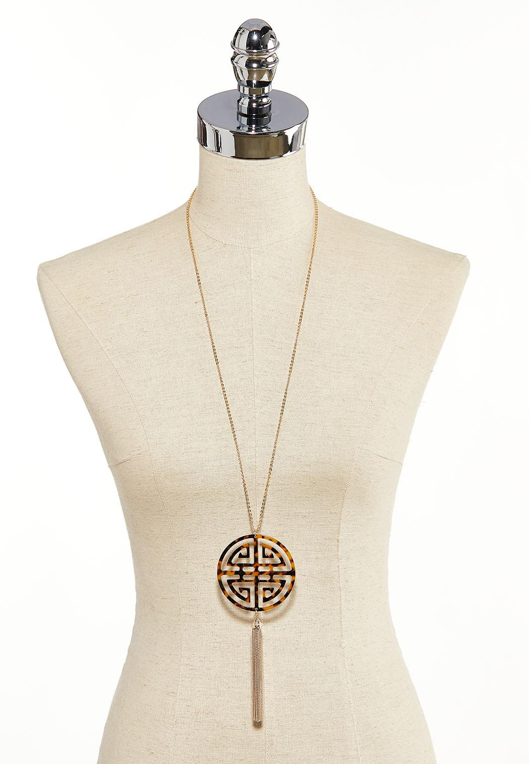 Tortoise Medallion Tassel Pendant Necklace (Item #44137252)