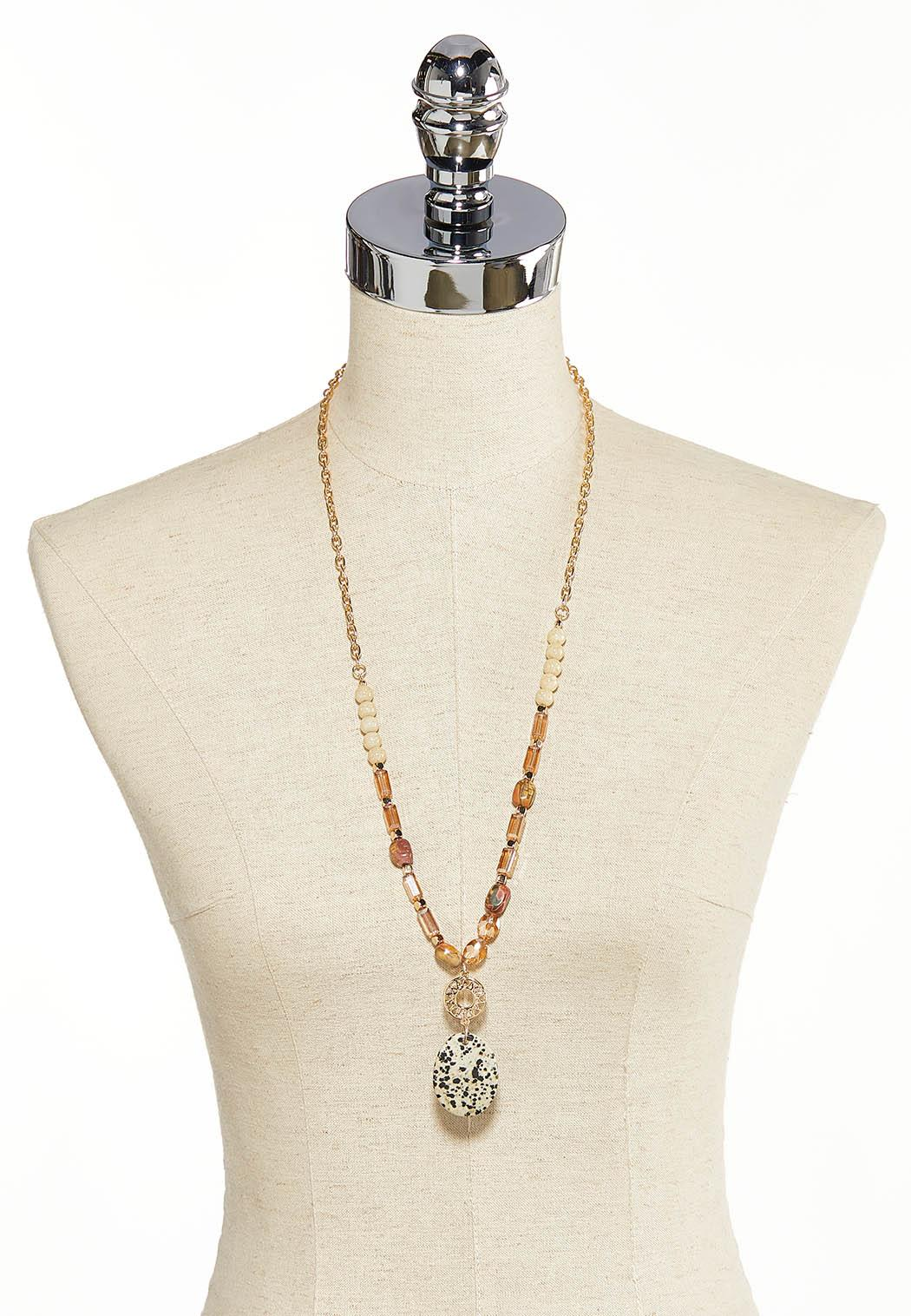 Speckled Pendant Beaded Necklace (Item #44137260)