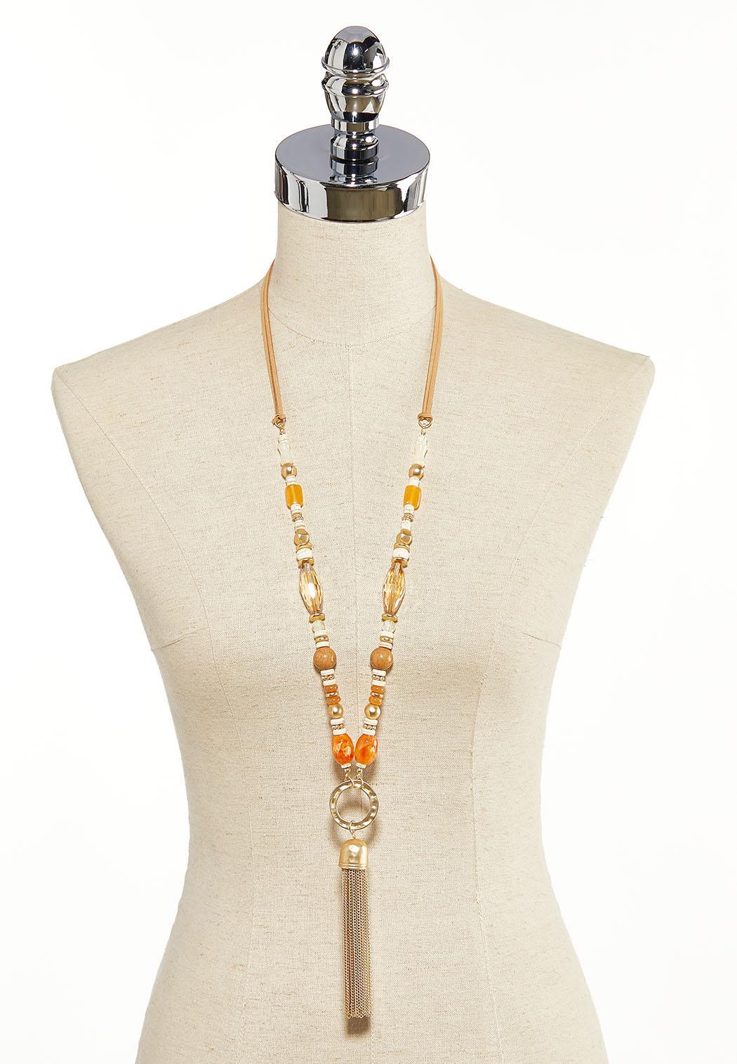 Resin Hammered Metal Tassel Necklace (Item #44137409)