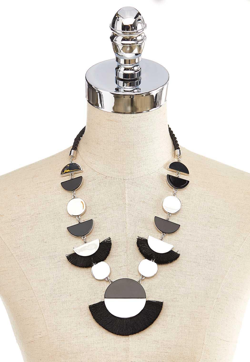 Crescent Metal Fringe Cord Necklace (Item #44137453)