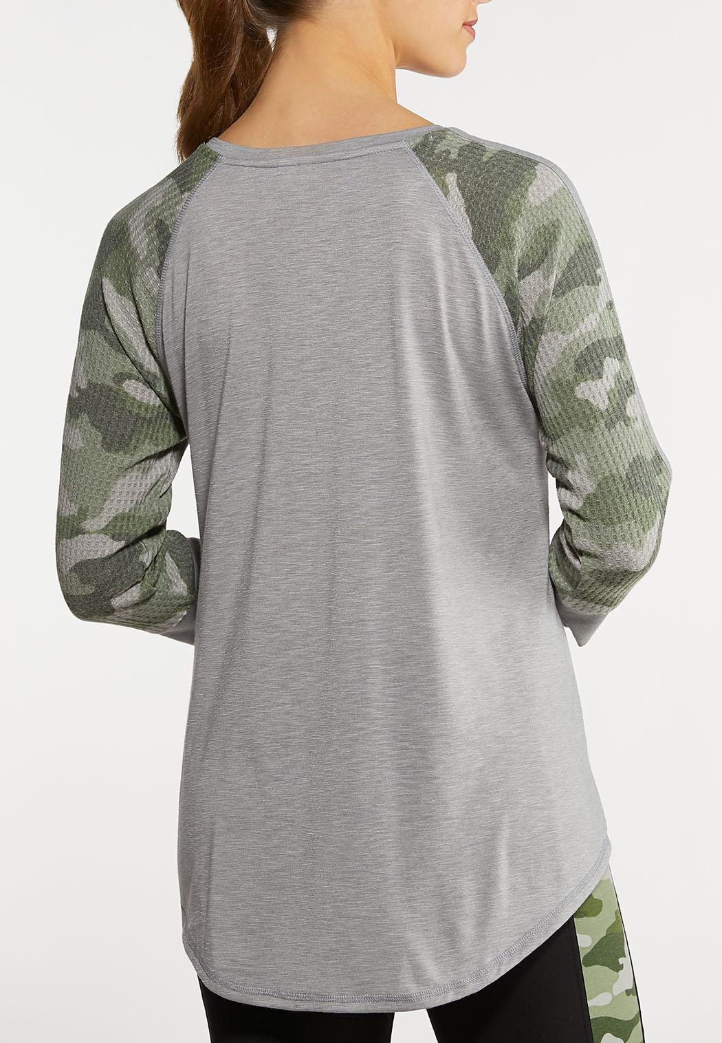 Plus Size Camo Raglan Top (Item #44137586)