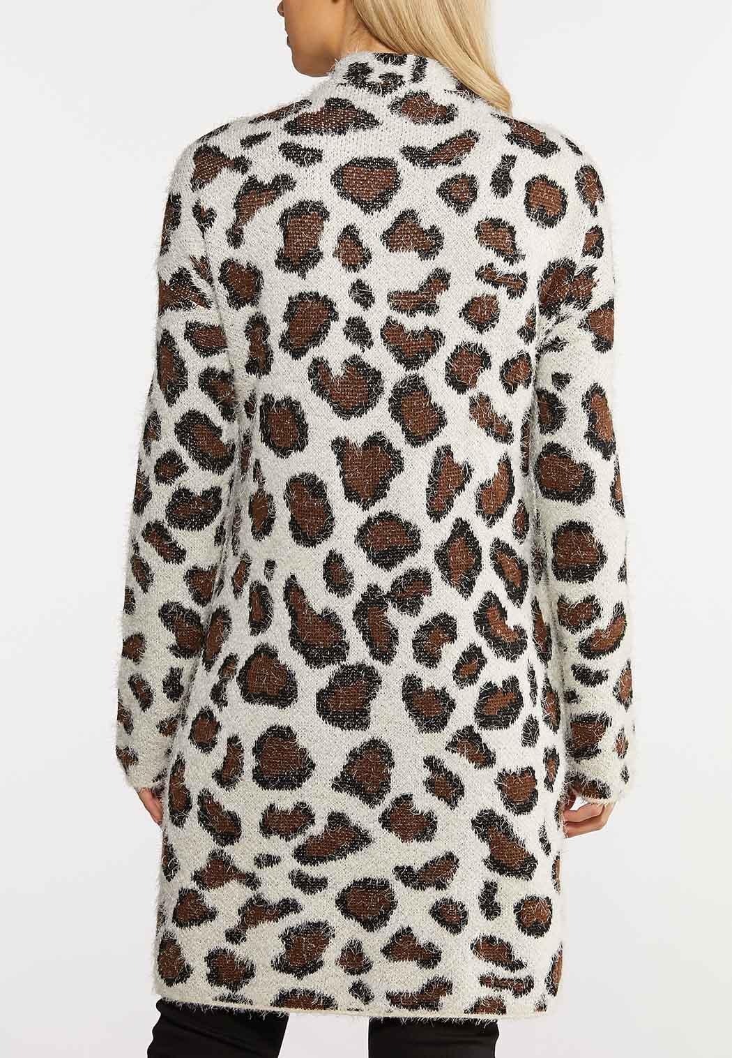 Plus Size Leopard Eyelash Cardigan (Item #44138878)