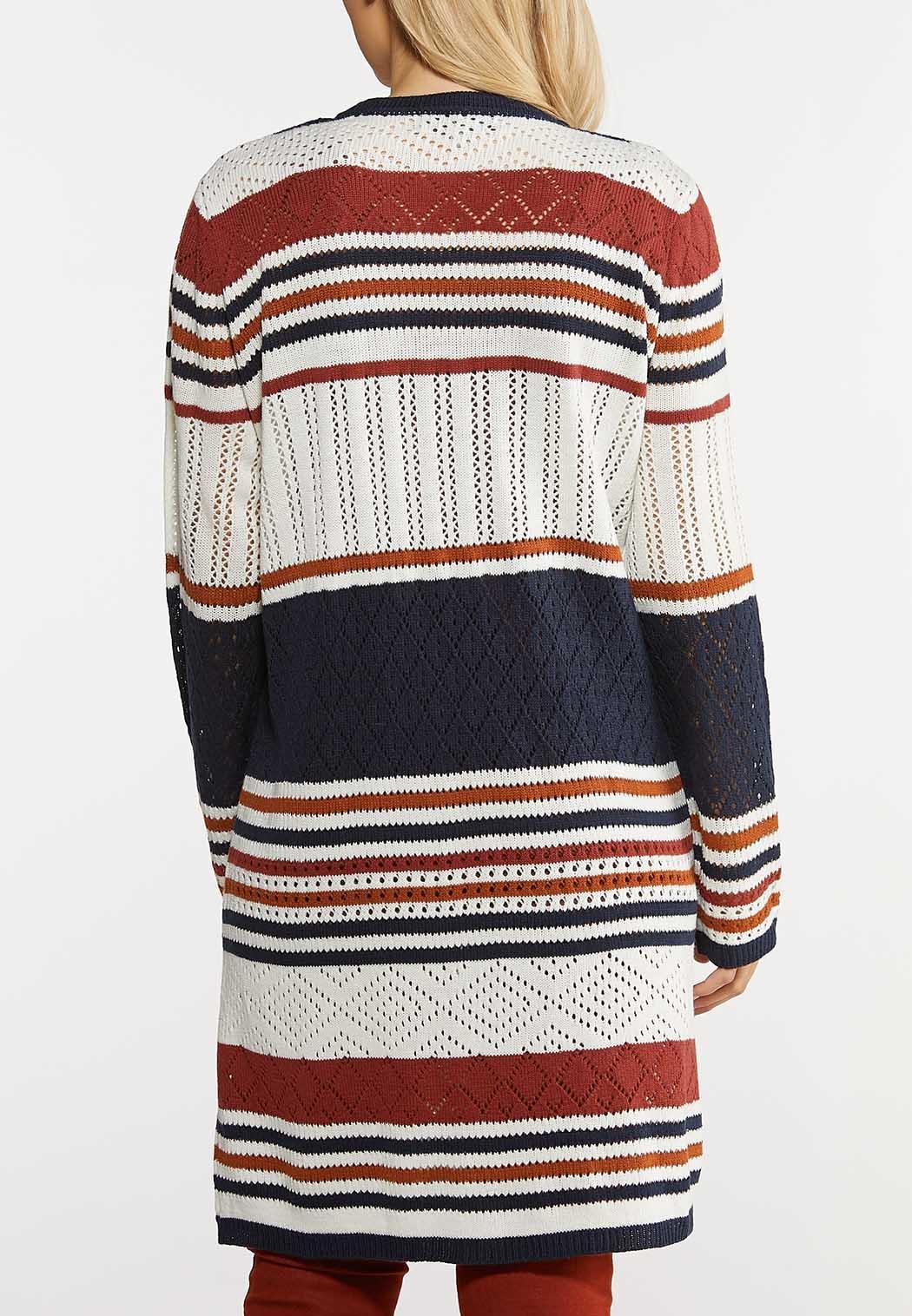 Plus Size Crochet Stripe Cardigan (Item #44138884)