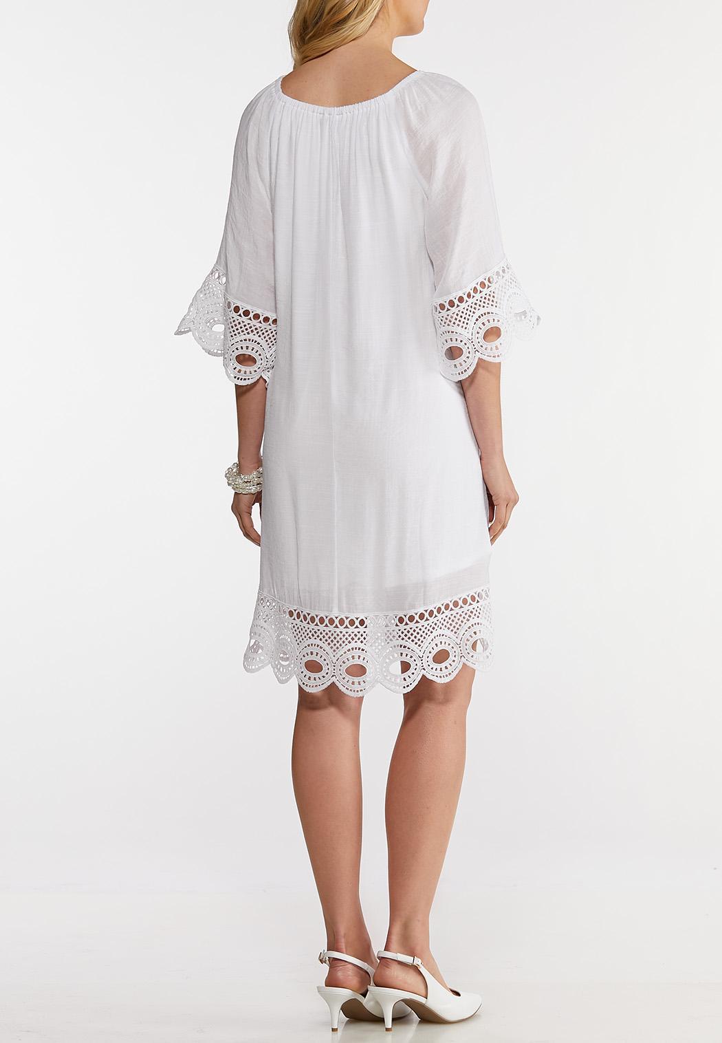Plus Size Lace Trim Peasant Dress (Item #44139650)