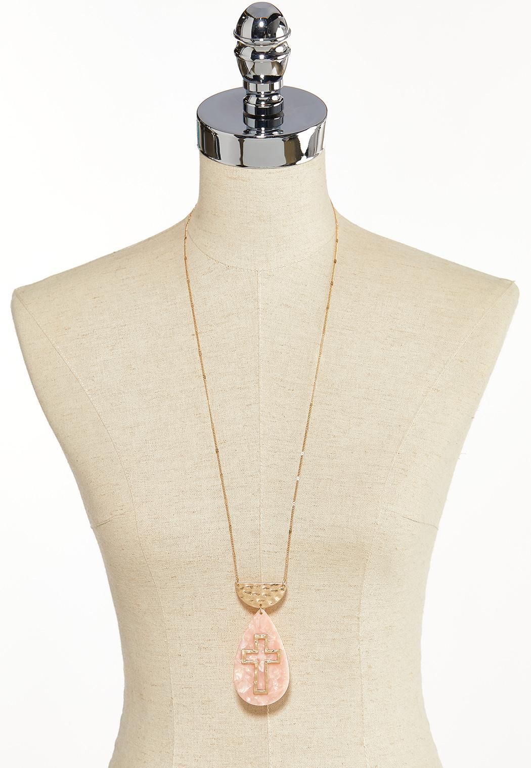 Lucite Cross Pendant Necklace (Item #44139922)