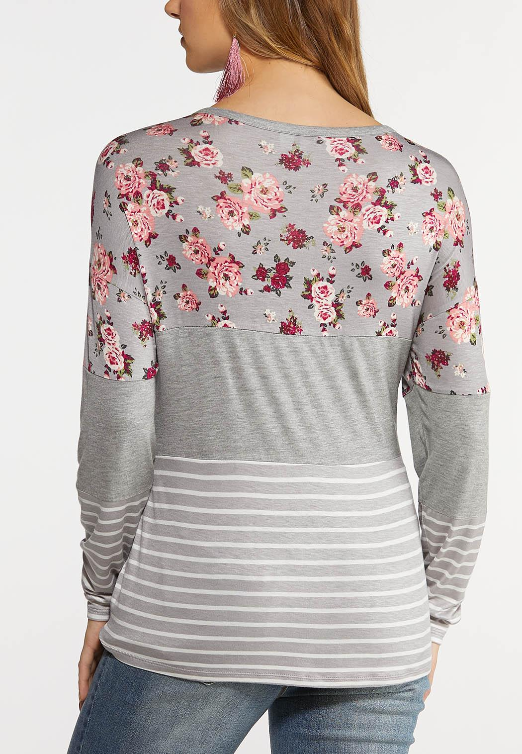 Plus Size Floral Colorblock Baseball Tee (Item #44139960)