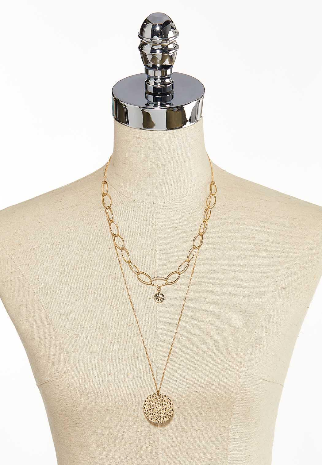 Layered Gold Disc Necklace (Item #44139994)