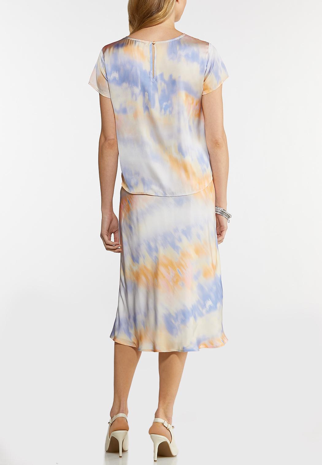 Satin Watercolor Skirt Set (Item #44140602)