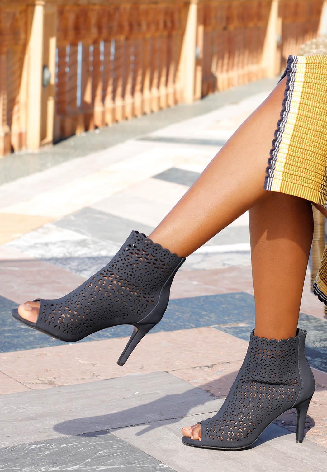 Laser Cut Peep Toe Heels (Item #44141099)