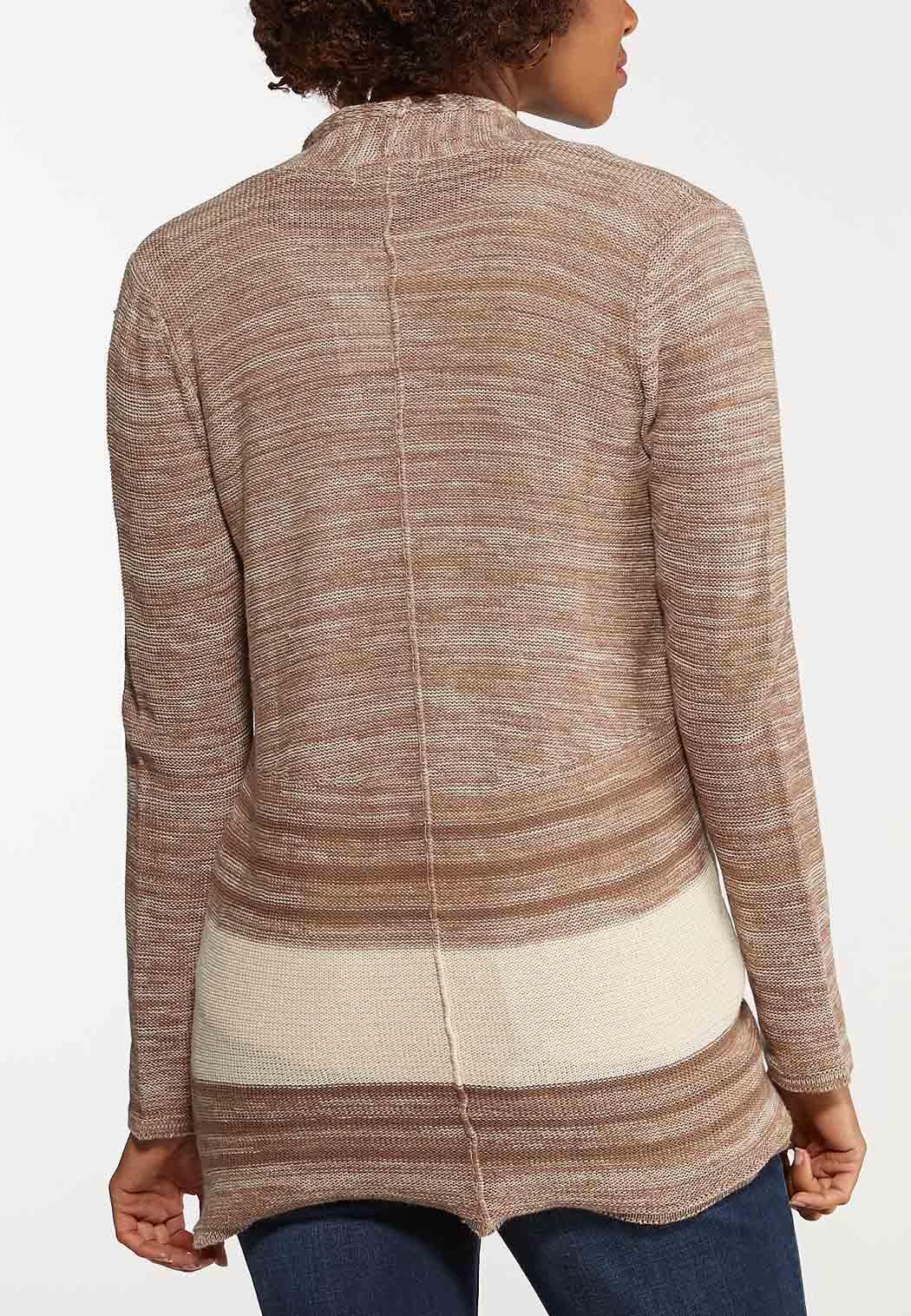 Plus Size Contrast Stripe Cardigan (Item #44141724)