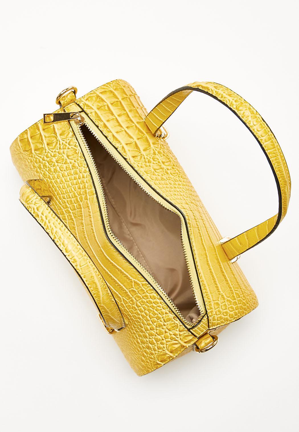 Yellow Croc Barrel Satchel (Item #44142024)