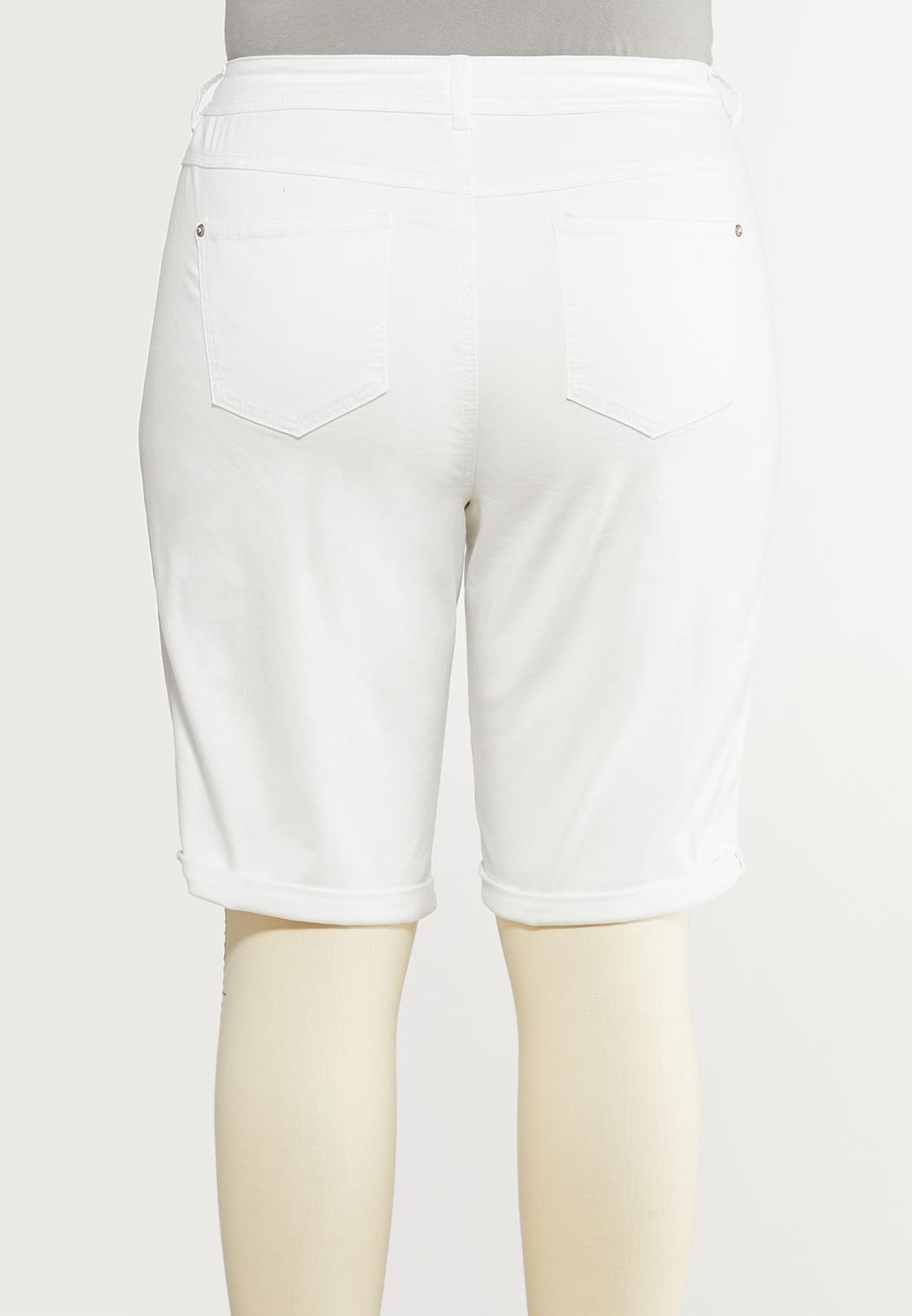 Plus Size White Jean Shorts (Item #44142275)