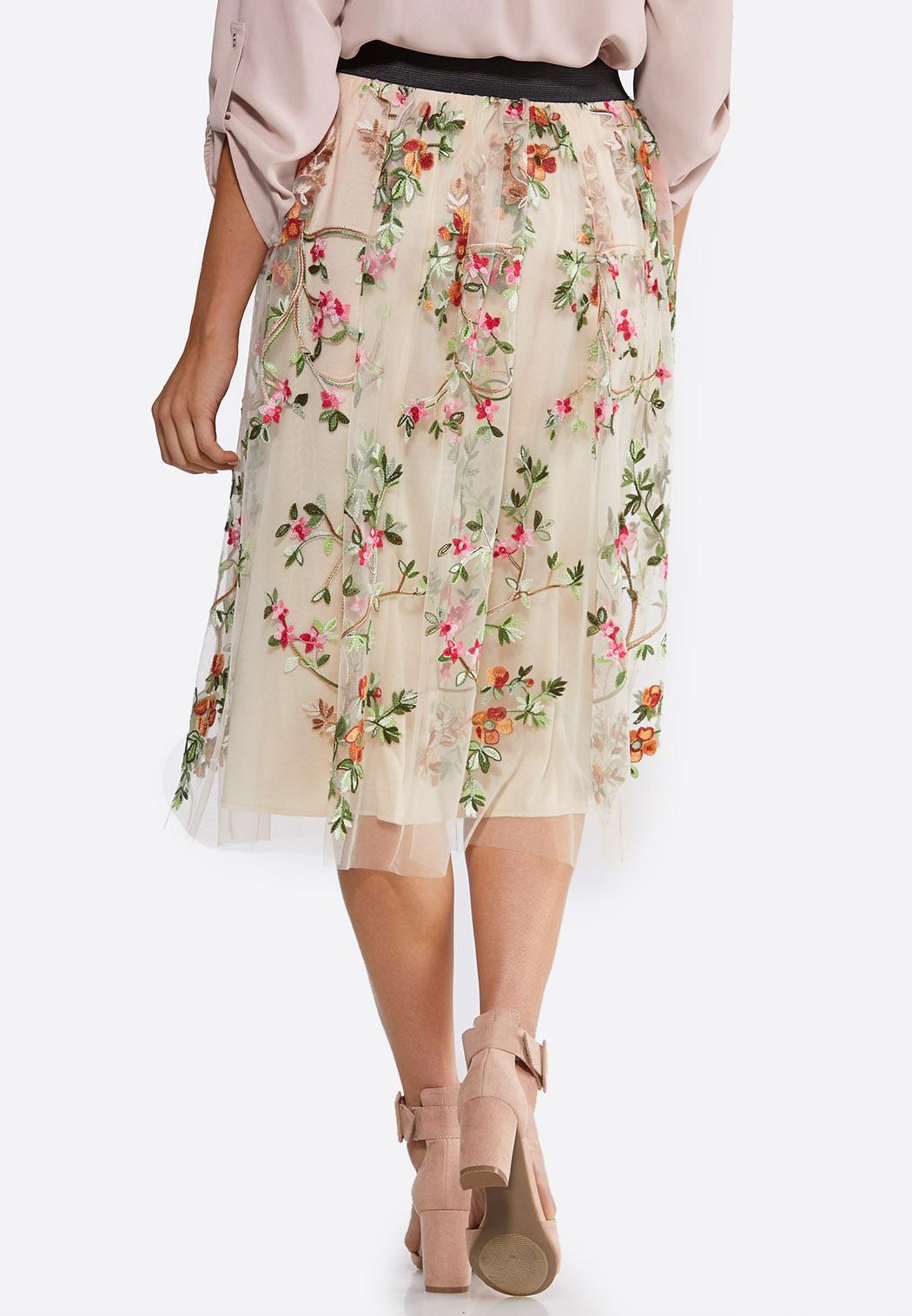 Plus Size Embroidered Floral Skirt (Item #44142297)