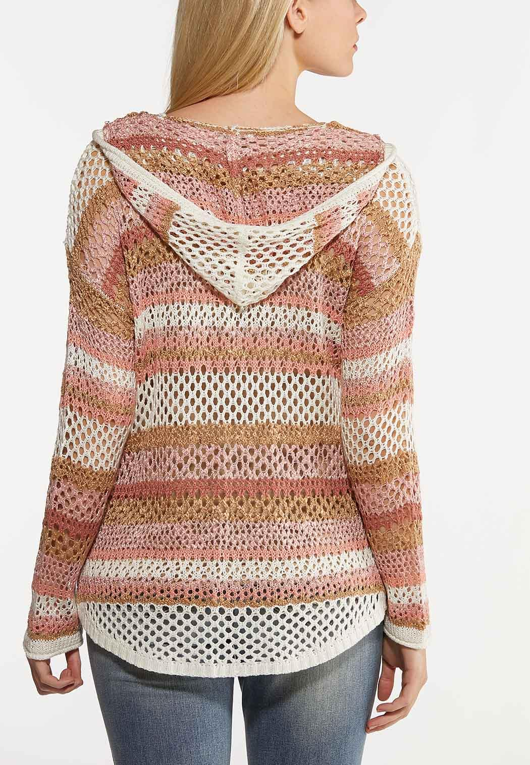Plus Size Striped Pointelle Cardigan Sweater (Item #44142318)