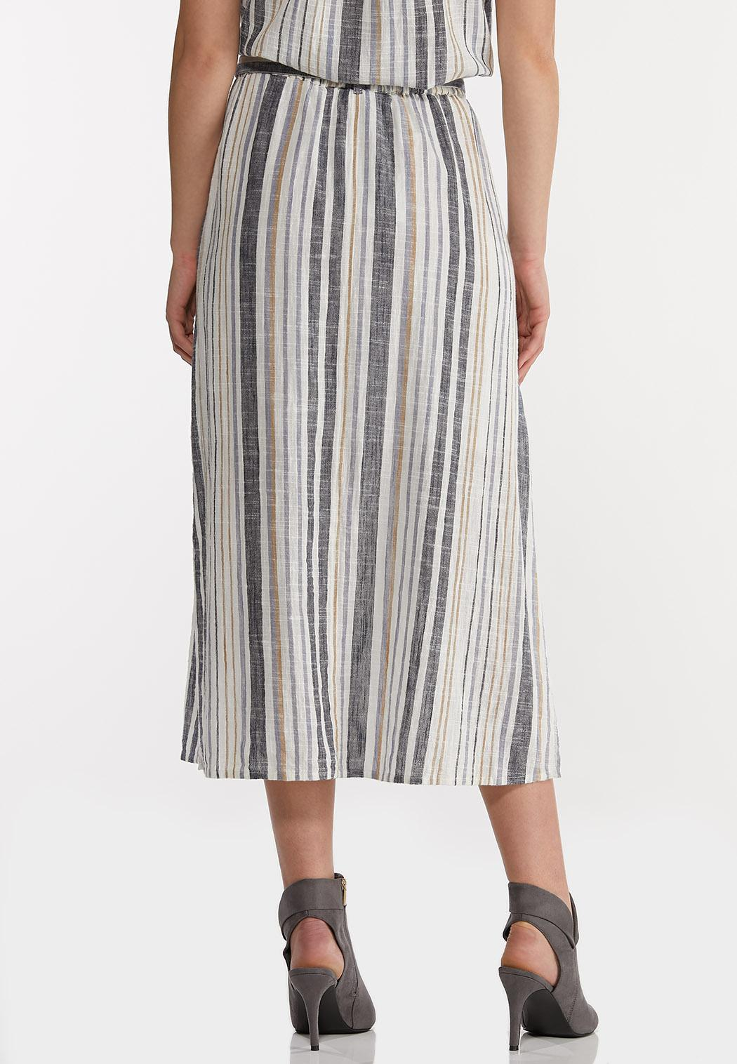Striped Linen Midi Skirt (Item #44142350)
