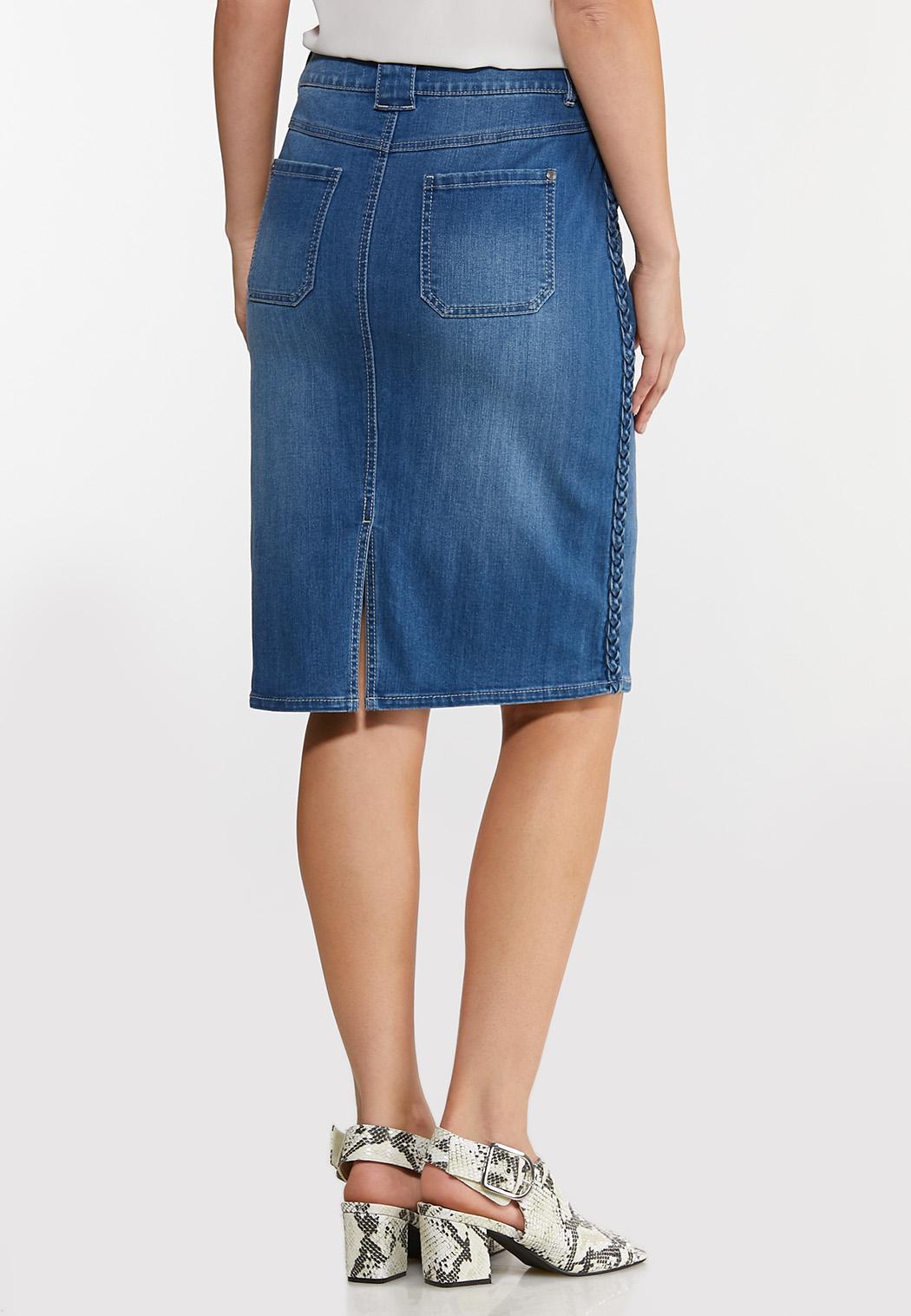 Plus Size Braided Trim Denim Skirt (Item #44142380)
