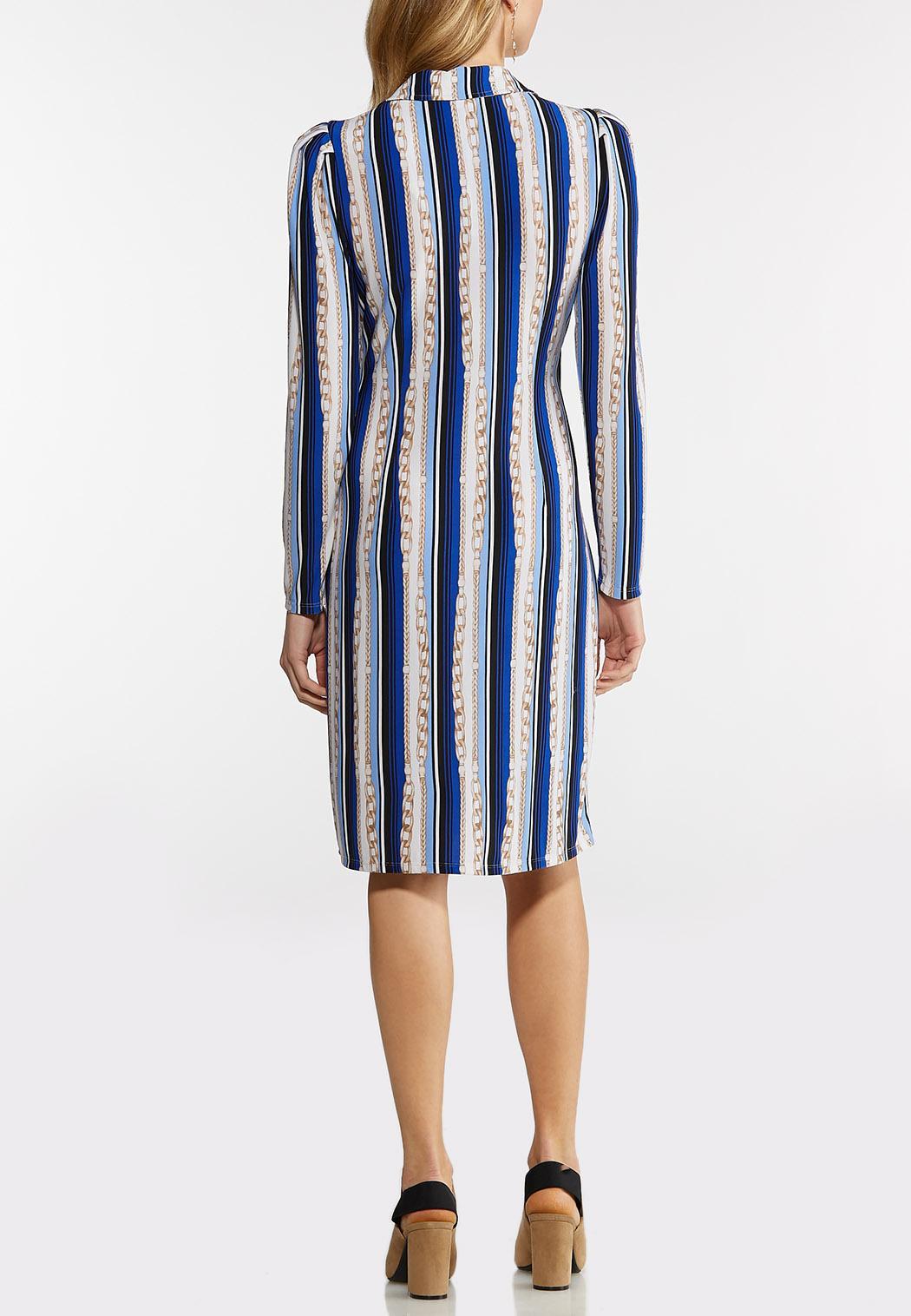 Plus Size Status Stripe Wrap Dress (Item #44142422)