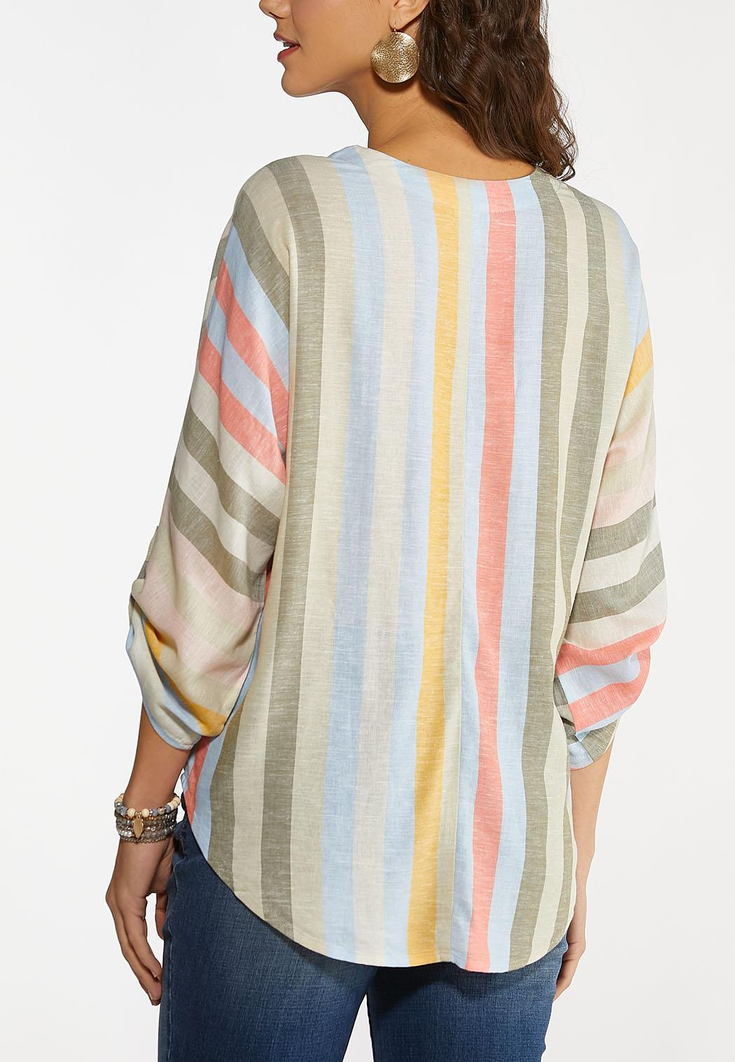 Plus Size Striped Dolman Sleeve Top (Item #44142603)