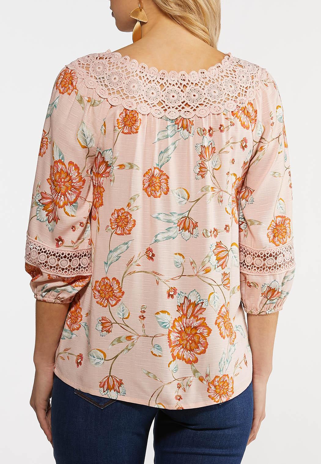 Plus Size Lacy Blush Floral Poet Top (Item #44142683)