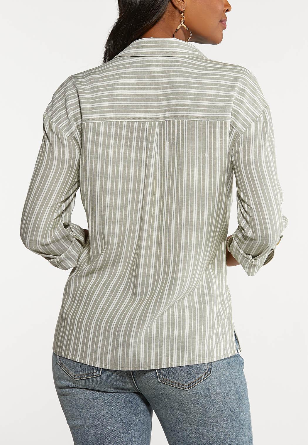 Plus Size Linen Utility Shirt (Item #44142796)