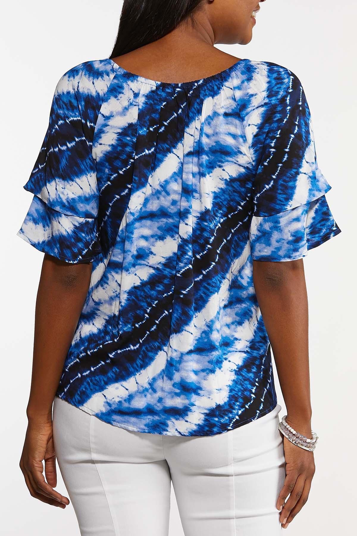 Blue Tie Dye Poet Top (Item #44143004)