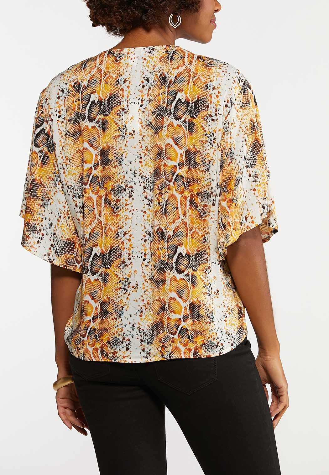 Plus Size Orange Snakeskin Print Top (Item #44143126)