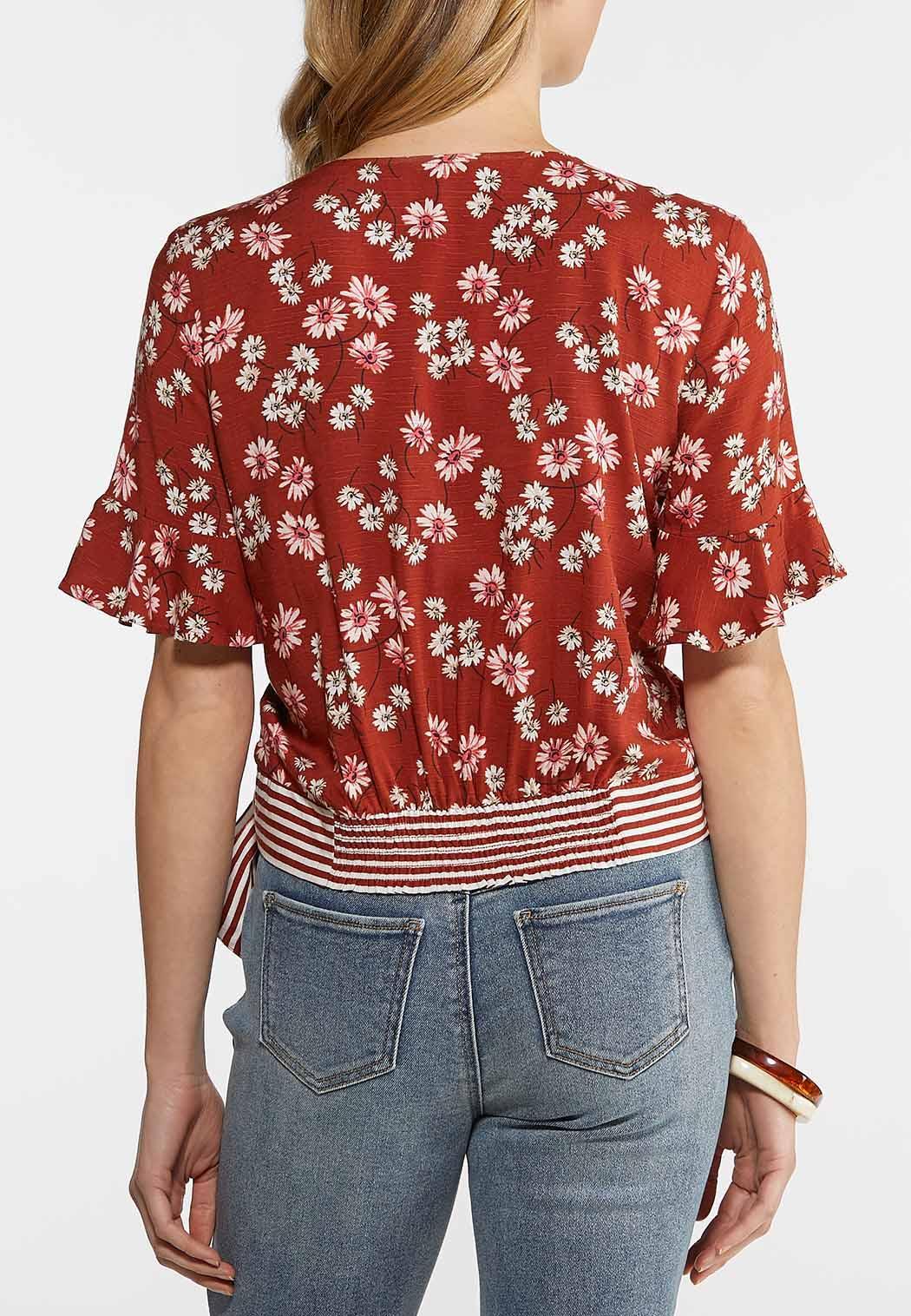 Rust Floral Tie Waist Top (Item #44143405)