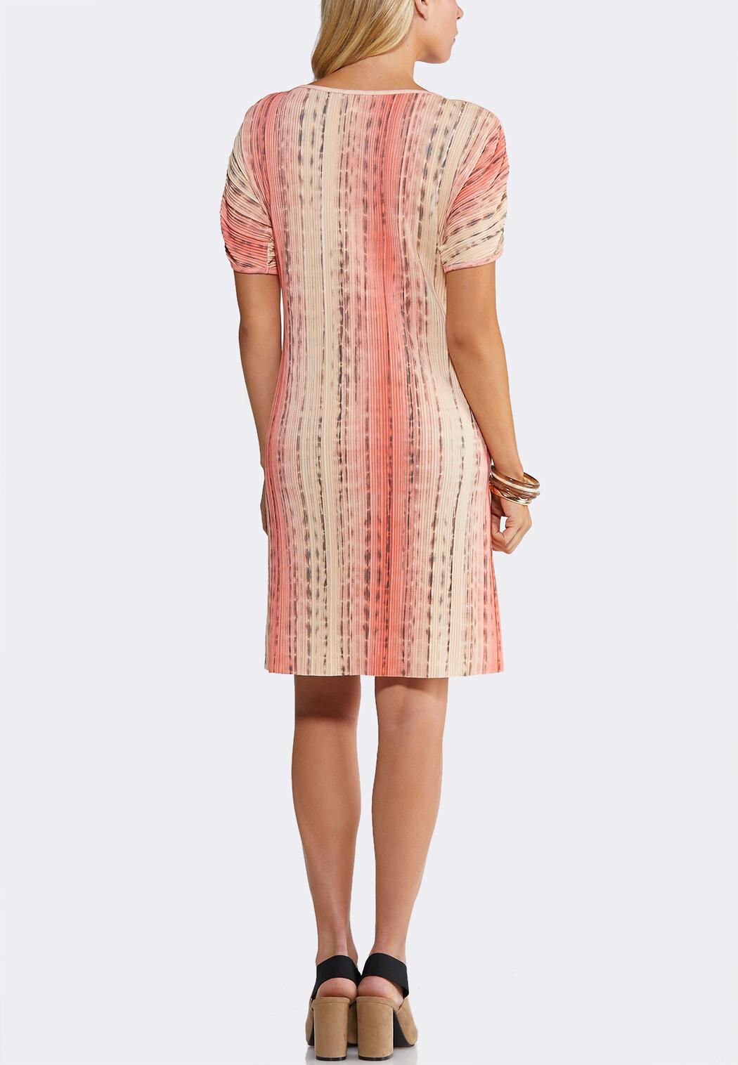 Plus Size Pleated Cold Shoulder Dress (Item #44143935)