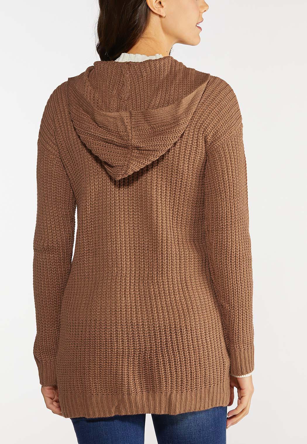 Plus Size Hoodie Cardigan Sweater (Item #44144290)