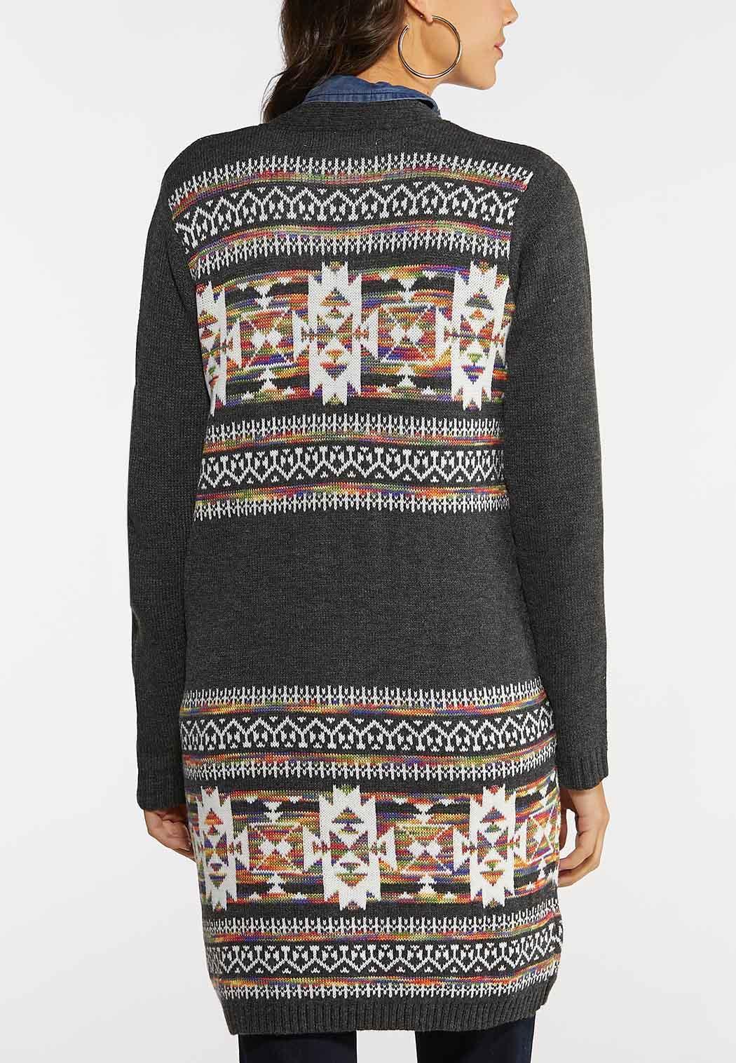 Plus Size Aztec Duster Cardigan (Item #44144376)
