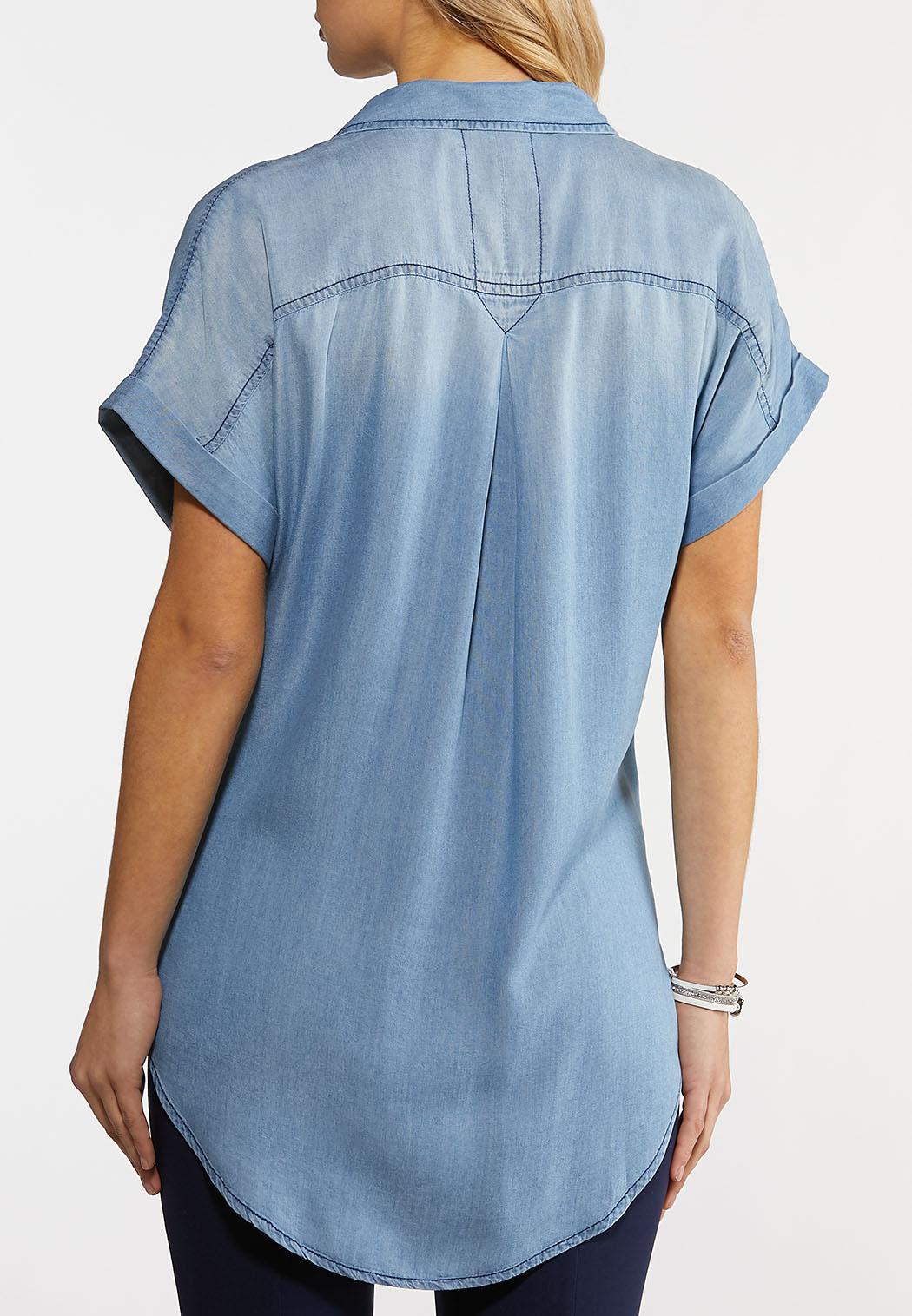 Plus Size Classic Chambray Shirt (Item #44144689)
