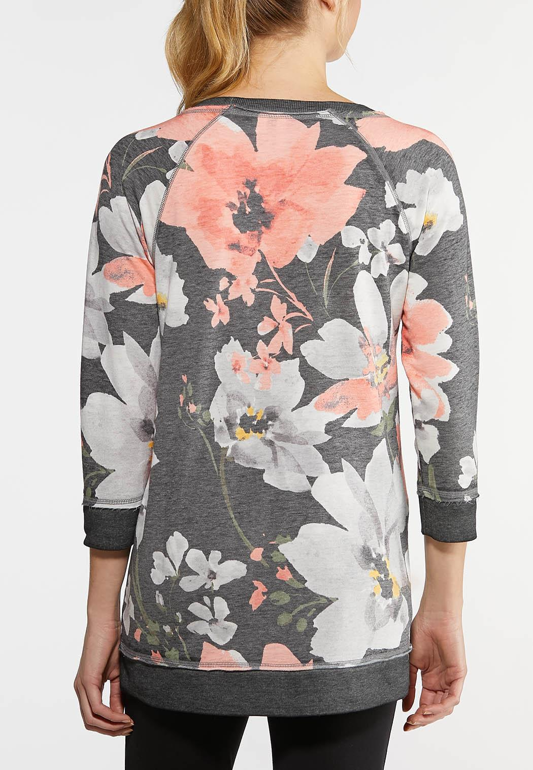 Plus Size Pink Floral Athleisure Top (Item #44144736)