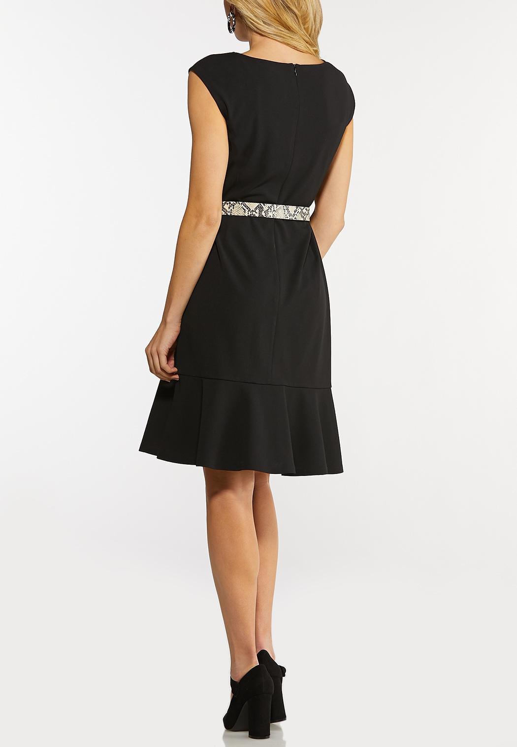 Flounced Belted Dress (Item #44144848)