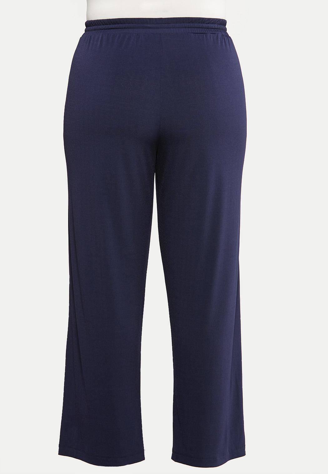 Plus Size Solid Wide Leg Pants (Item #44145637)
