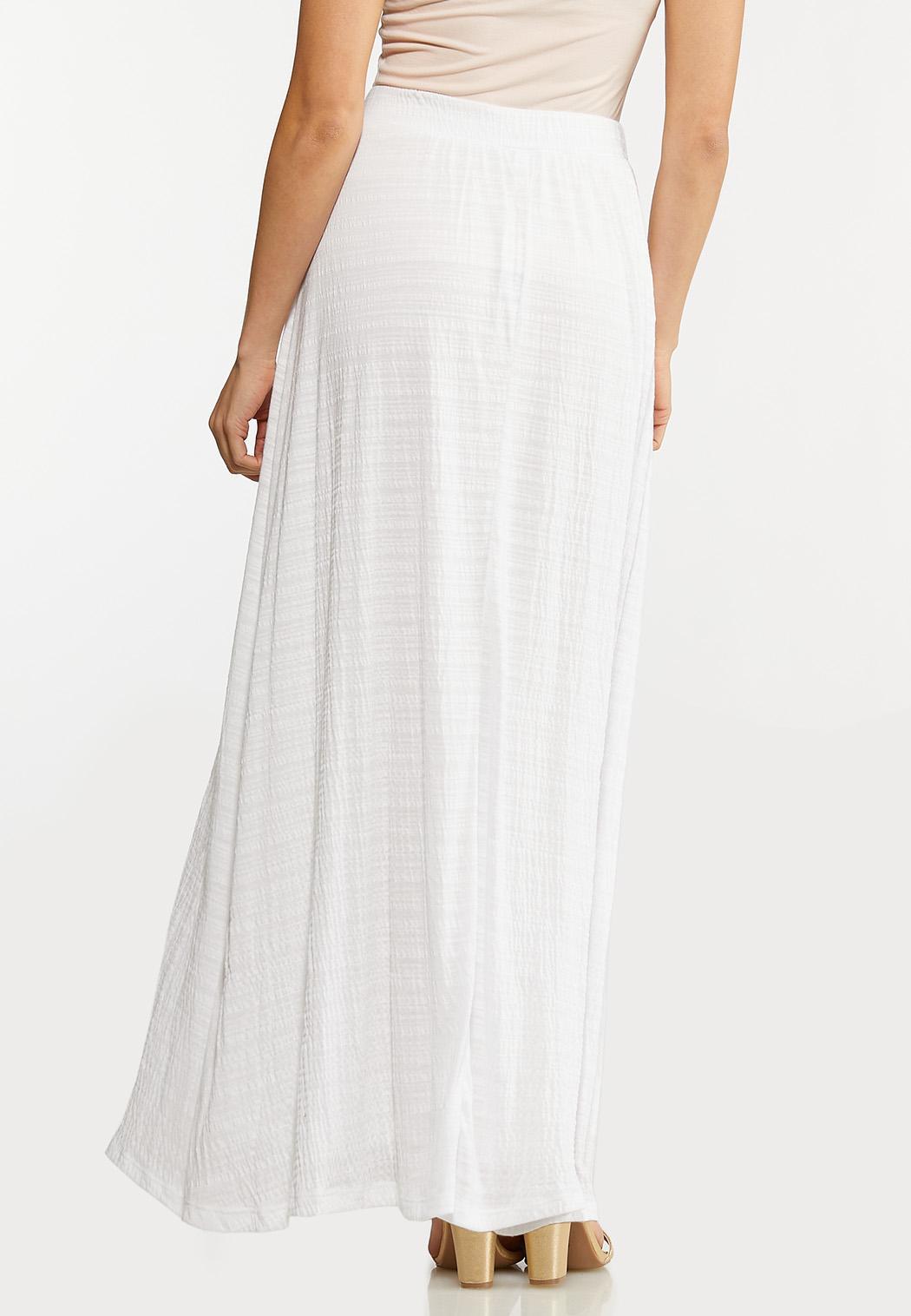 Plus Size Textured White Maxi Skirt (Item #44146339)