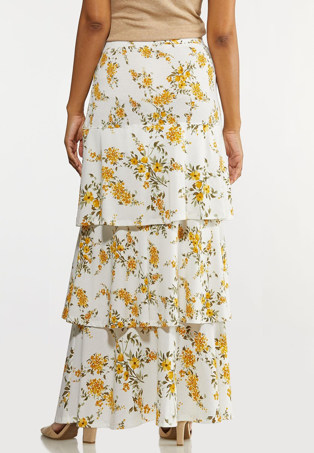 Plus Size Tiered Spring Floral Maxi Skirt (Item #44146428)