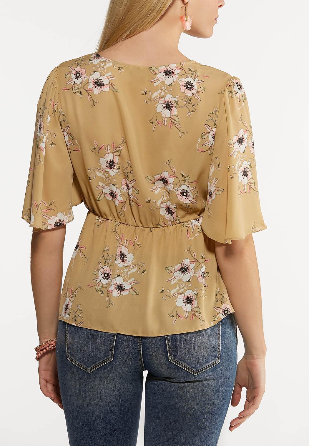 Wild Floral Tie Front Top (Item #44146655)