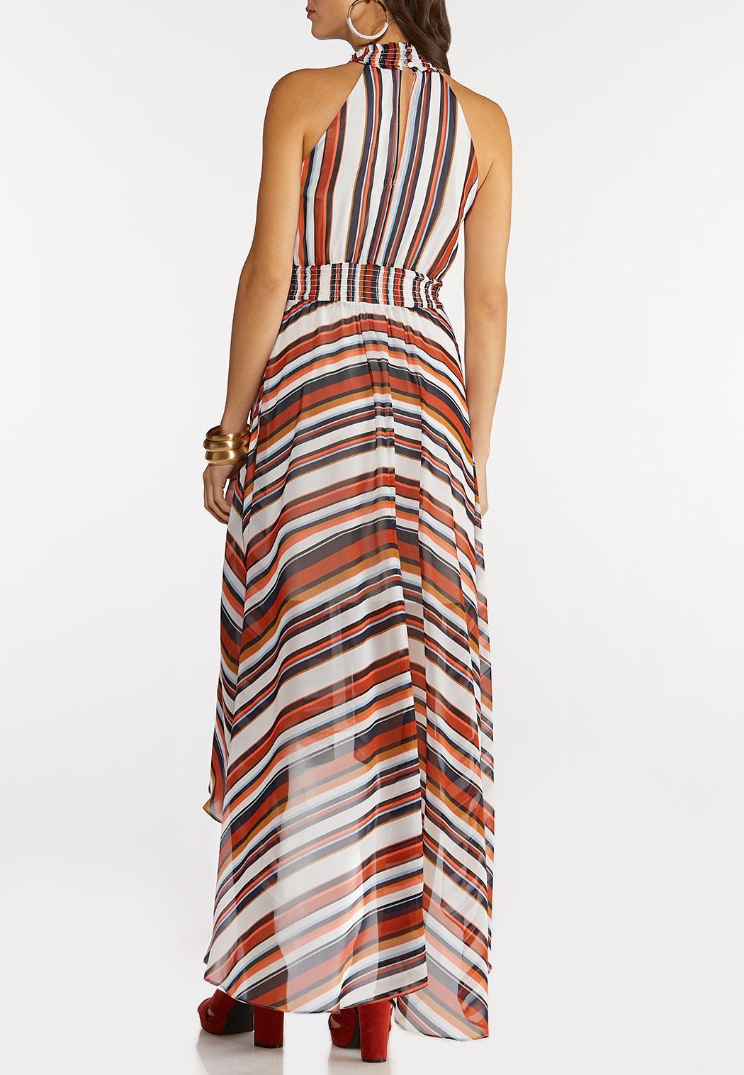 Plus Size Stripe High-Low Maxi Dress (Item #44147109)