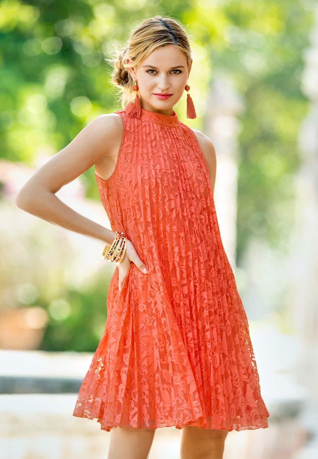 Plus Size Pleated Lace Swing Dress (Item #44147781)